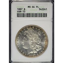 1887 MORGAN DOLLAR ANACS MS64 PL VAM 10