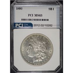 1892 MORGAN SILVER DOLLAR, PCI CHOICE BU