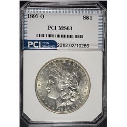 1897-O MORGAN SILVER DOLLAR, PCI CHOICE BU  KEY DATE