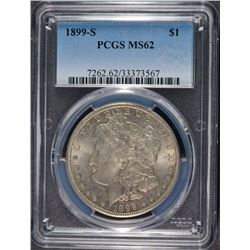 1899-S MORGAN SILVER DOLLAR, PCGS  MS-62  BETTER DATE