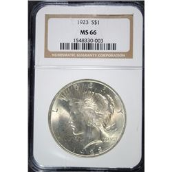 1923 PEACE SILVER DOLLAR, NGC MS-66  NICE!