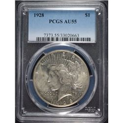1928 PEACE DOLLAR PCGS AU 55 KEY DATE!