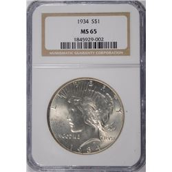 1934 PEACE SILVER DOLLAR, NGC MS-65