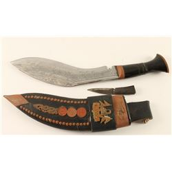 Nepalese 2-Piece Kukri Set with Scabbard