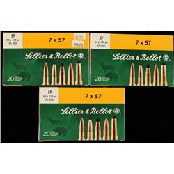 60 Rounds of Sellier & Bellot SP 7x57 Ammo