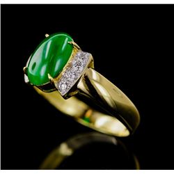 Natural Imperial Jade/Jadite Solid Gold Ring - GIA