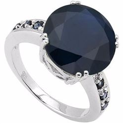 Natural Midnight Blue Black Sapphire 7 Carats Ring
