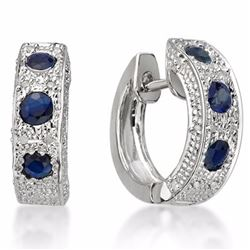 Genuine Blue Sapphire & Diamond Ear Ring