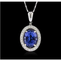 18KT White Gold 7.20ct Tanzanite and Diamond Pendant With Chain