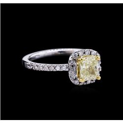 1.37ctw Fancy Light Yellow Diamond Ring - 14KT Two-Tone Gold