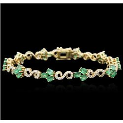14KT Yellow Gold 4.71ctw Emerald and Diamond Bracelet