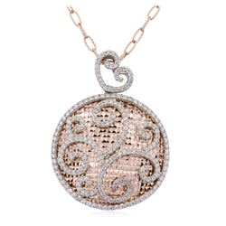 14KT Two-Tone Gold 1.30ctw Diamond Pendant With Chain
