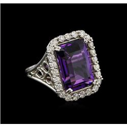 12.85ct Amethyst and Diamond Ring - 14KT White Gold