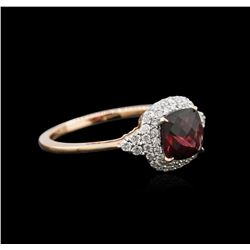 14KT Rose Gold 0.90ct Tourmaline and Diamond Ring