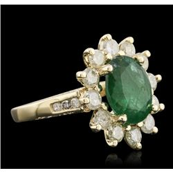 14KT Yellow Gold 3.52ct Emerald and Diamond Ring