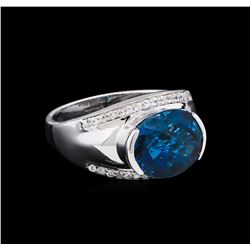 Crayola 5.10ct Blue Topaz and White Sapphire Ring - .925 Silver