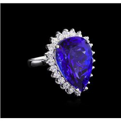 14KT White Gold GIA Certified 16.98ct Tanzanite and Diamond Ring