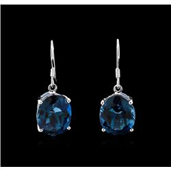 Crayola 22.00ctw Blue Topaz Earrings - 14K White Gold