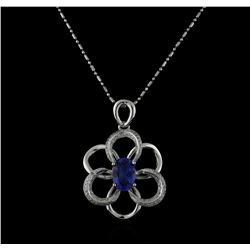 14KT White Gold 2.50ct Tanzanite and Diamond Pendant With Chain