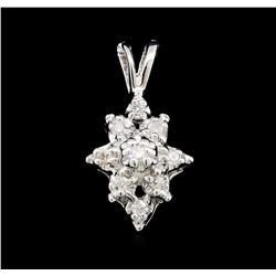 0.10ctw Diamond Cluster Flower Pendant - 14KT White Gold
