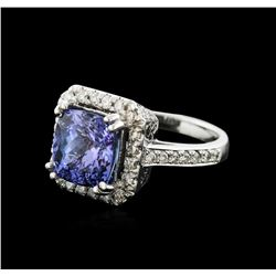 14KT White Gold 4.25ct Tanzanite and Diamond Ring
