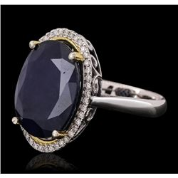14KT Two-Tone Gold 13.11ct Sapphire and Diamond Ring