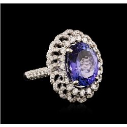 18KT White Gold 9.02ct Tanzanite and Diamond Ring