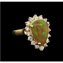 2.95ct Opal and Diamond Ring - 14KT Yellow Gold