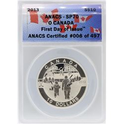 2013 ANACS SP70 $10 O Canada Hockey First Day of Issue Silver Coin