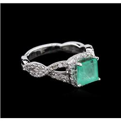 1.45ct Emerald and Diamond Ring - 14KT White Gold