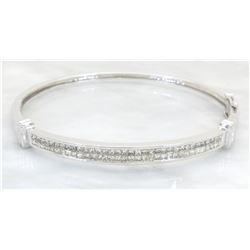2.50ctw Diamond Bangle Bracelet - 14KT White Gold