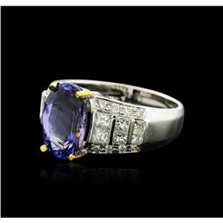 14KT Two-Tone Gold 3.91ct Tanzanite and Diamond Ring