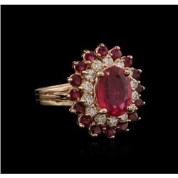 4.15ctw Ruby and Diamond Ring - 14KT Rose Gold