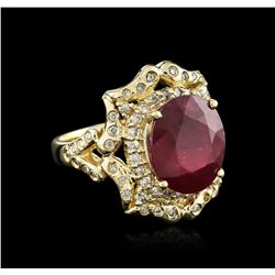 14KT Yellow Gold 8.01ct Ruby and Diamond Ring