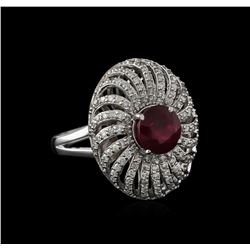 14KT White Gold 2.73ct Ruby and Diamond Ring