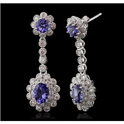 14KT White Gold 3.22ctw Tanzanite and Diamond Earrings