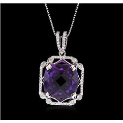 18KT White Gold 9.79ct Amethyst and Diamond Pendant with Chain