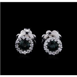 0.65ctw Blue Sapphire and Diamond Earrings - 14KT White Gold