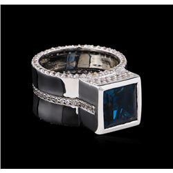 Crayola 4.20ct Blue Topaz and White Sapphire Ring - .925 Silver