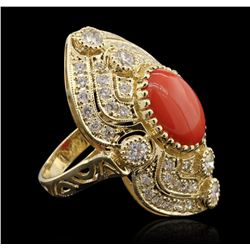 14KT Yellow Gold 4.40ct Coral and Diamond Ring