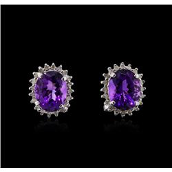 14KT White Gold 3.42ctw Amethyst and Diamond Earrings