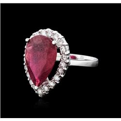 14KT White Gold 5.88ct Ruby and Diamond Ring
