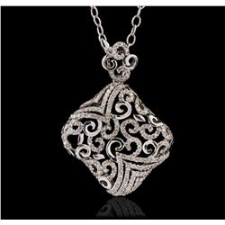 14KT White Gold 1.20ctw Diamond Pendant With Chain