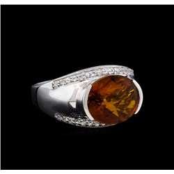 Crayola 3.95ct Citrine and White Sapphire Ring - .925 Silver