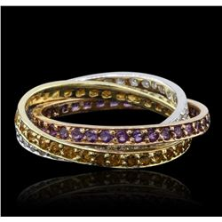 14KT Tri Color Gold 0.72ctw Amethyst, Citrine, and Diamond Ring