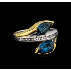 Crayola 2.60ctw Blue Topaz and White Sapphire Ring - .925 Silver