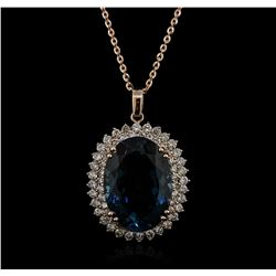 14KT Rose Gold 35.04ct Topaz and Diamond Pendant With Chain
