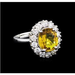 3.40ct Yellow Sapphire and Diamond Ring - 14KT White Gold