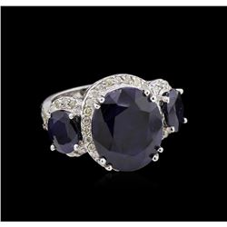 12.15ctw Sapphire and Diamond Ring - 14KT White Gold