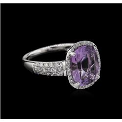 3.20ct Amethyst and Diamond Ring - 14KT White Gold